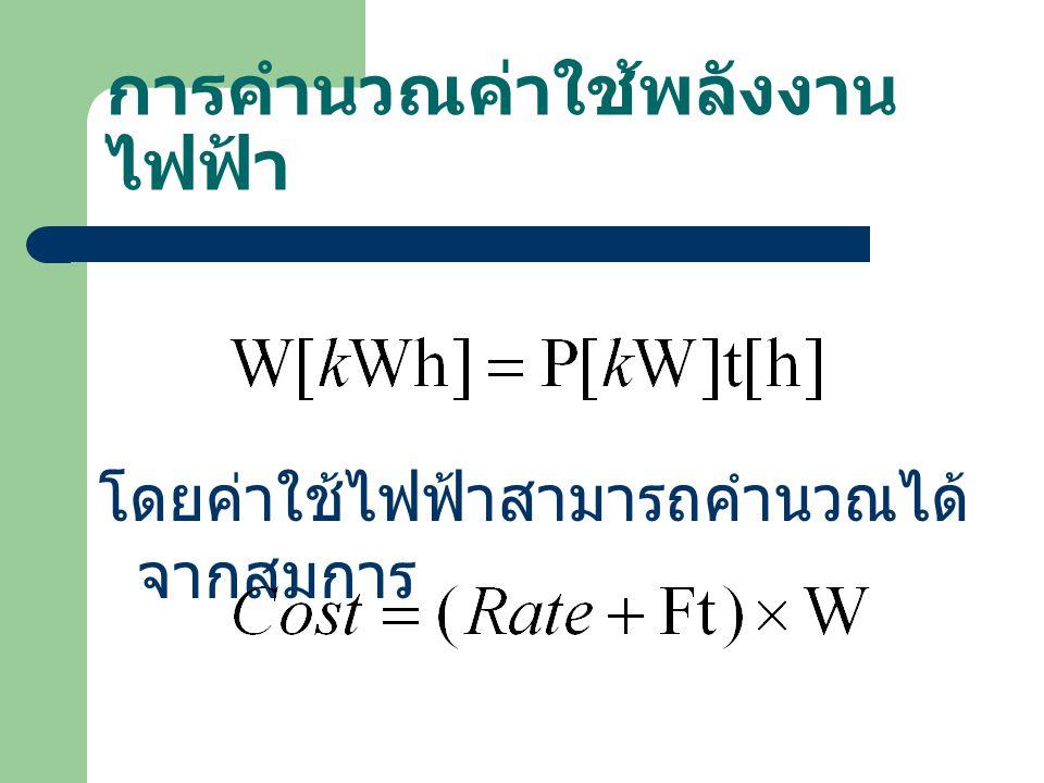 การคำนวณค่าใช้พลังงาน ไฟฟ้า โดยค่าใช้ไฟฟ้าสามารถคำนวณได้ จากสมการ