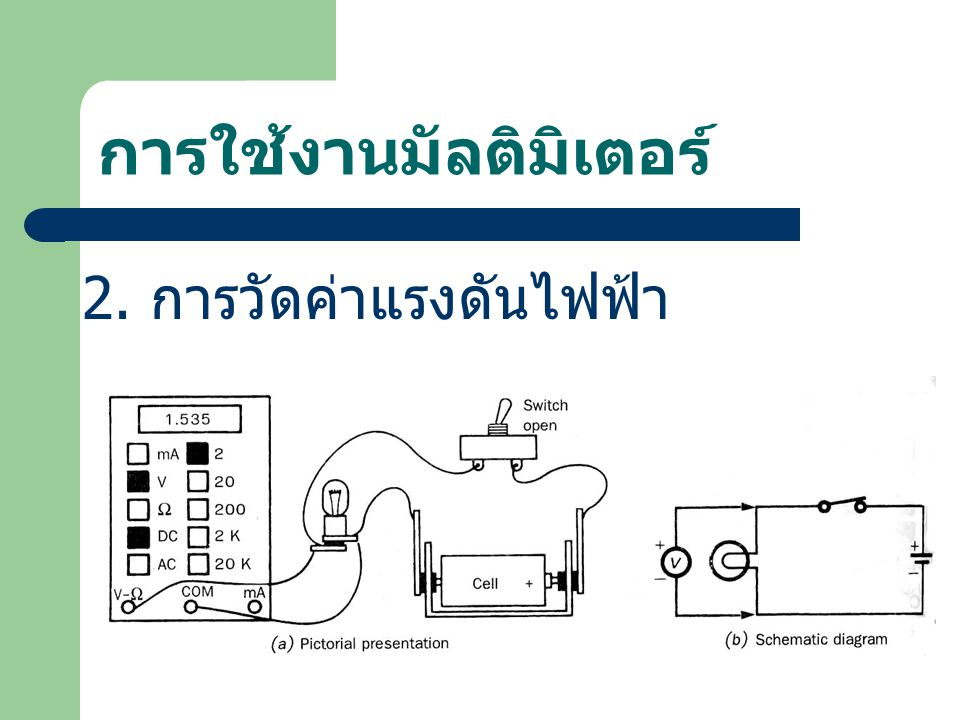 การใช้งานมัลติมิเตอร์ 2. การวัดค่าแรงดันไฟฟ้า