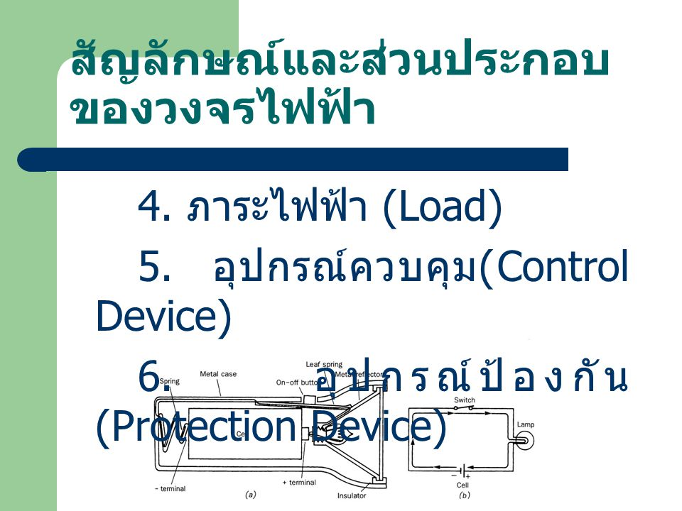 สัญลักษณ์และส่วนประกอบ ของวงจรไฟฟ้า 4.ภาระไฟฟ้า (Load) 5.