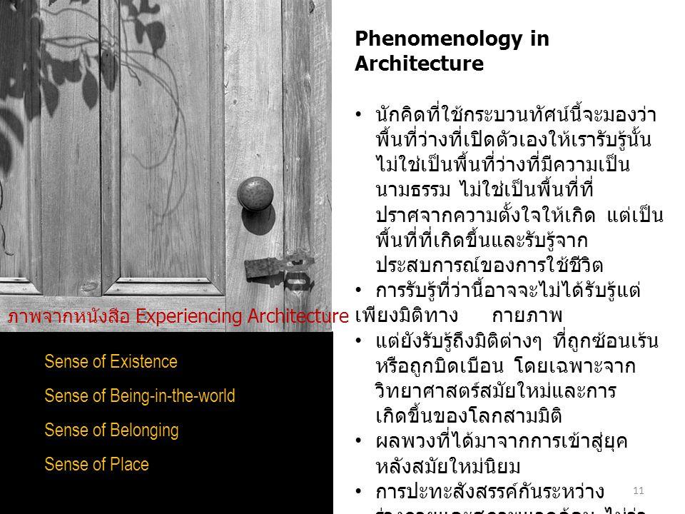 11 Sense of Existence Sense of Being-in-the-world Sense of Belonging Sense of Place Phenomenology in Architecture นักคิดที่ใช้กระบวนทัศน์นี้จะมองว่า พ