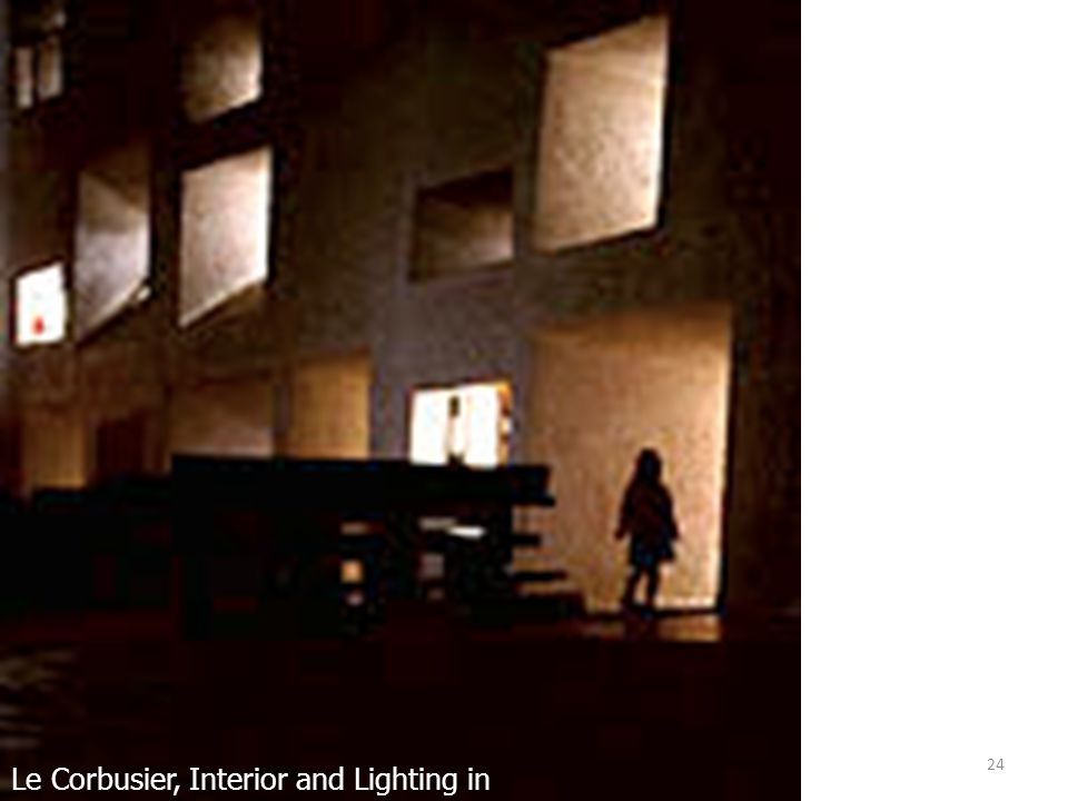 24 Le Corbusier, Interior and Lighting in Ronchamp, France
