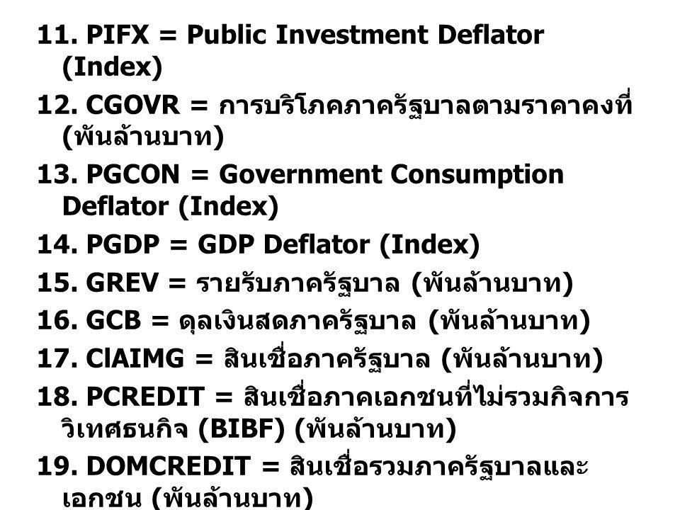 11. PIFX = Public Investment Deflator (Index) 12.