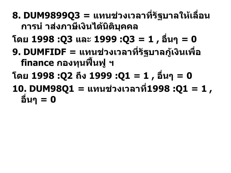8. DUM9899Q3 = แทนชวงเวลาที่รัฐบาลใหเลื่อน การนํ าสงภาษีเงินไดนิติบุคคล โดย 1998 :Q3 และ 1999 :Q3 = 1, อื่นๆ = 0 9. DUMFIDF = แทนชวงเวลาที่รัฐบาล