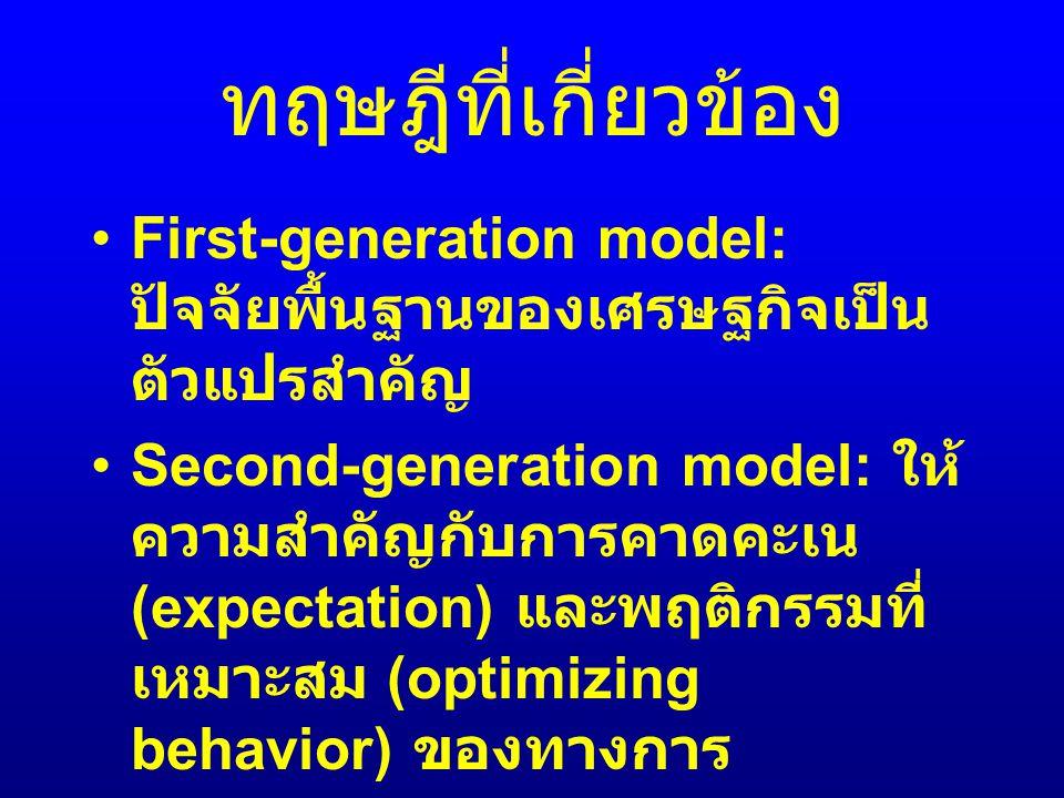 วิธีการศึกษา Parametric approach เช่น Probit/logit model Non-parametric approach เช่น Signal approach