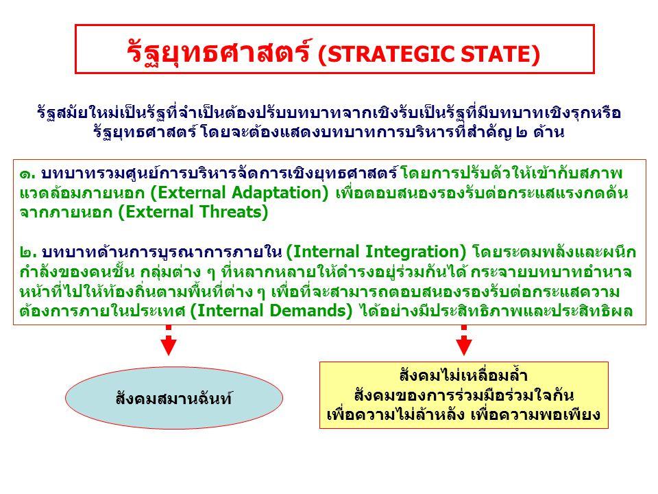 บทบาทสำคัญของรัฐไทยสมัยใหม่ รัฐชาติ รัฐยุทธศาสตร์ ตัวแสดงนำที่รับผิดชอบ หน้าที่ภารกิจทุกประเภท เลือกทำบางเรื่องที่จำเป็นและ ให้ความสำคัญแก่ภารกิจด้าน การพัฒนาในเชิงกลยุทธ์มากขึ้น กำหนดยุทธศาสตร์ แนวทางนโยบาย สนับสนุนส่งเสริม ร่วมมือ และกำกับดูแล ความรับผิดชอบ (Distributed Governance) การกระจายและแบ่งปันความรับผิดชอบ (Sharing Responsibility) และความชอบธรรมในการบริหารจัดการ เป็นผู้วางเงื่อนไขแล้วทำสัญญาข้อตกลงผลงานมอบอำนาจให้องค์กรปกครองส่วนท้องถิ่น และหน่วยงานที่ไม่ใช่ภาครัฐ (Outsourcing) รับไปทำ ความชอบธรรมของรัฐและรัฐบาลในอนาคต คือ การมียุทธศาสตร์ที่ดี การประสานแผนยุทธศาสตร์สู่ การปฏิบัติที่มีประสิทธิภาพ และความเป็นประชาธิปไตย