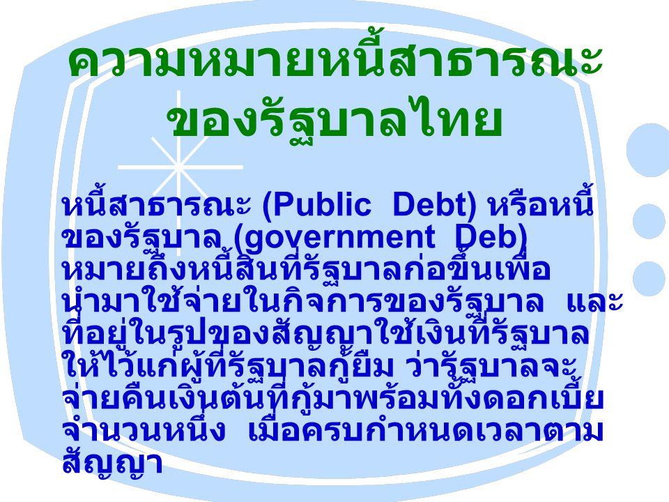 ความหมายหนี้สาธารณะ ของรัฐบาลไทย หนี้สาธารณะ (Public Debt) หรือหนี้ ของรัฐบาล (government Deb) หมายถึงหนี้สินที่รัฐบาลก่อขึ้นเพื่อ นำมาใช้จ่ายในกิจการของรัฐบาล และ ที่อยู่ในรูปของสัญญาใช้เงินที่รัฐบาล ให้ไว้แก่ผู้ที่รัฐบาลกู้ยืม ว่ารัฐบาลจะ จ่ายคืนเงินต้นที่กู้มาพร้อมทั้งดอกเบี้ย จำนวนหนึ่ง เมื่อครบกำหนดเวลาตาม สัญญา