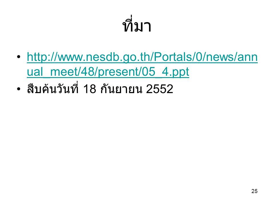 25 ที่มา http://www.nesdb.go.th/Portals/0/news/ann ual_meet/48/present/05_4.ppthttp://www.nesdb.go.th/Portals/0/news/ann ual_meet/48/present/05_4.ppt