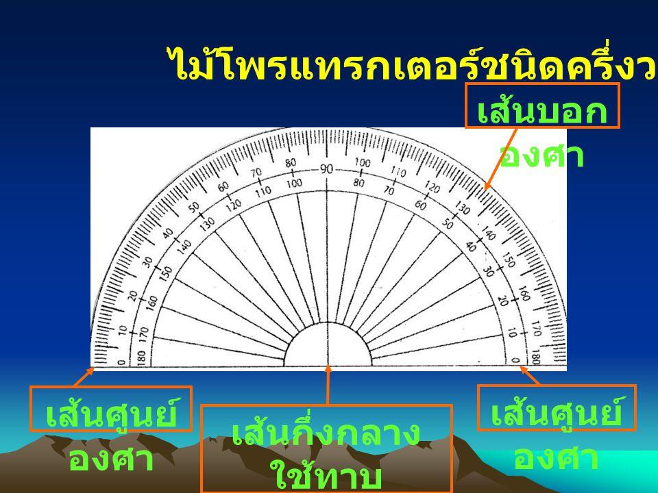 ไม้โพรแทรกเตอร์ชนิดครึ่งวงกลม เส้นกึ่งกลาง ใช้ทาบ จุดยอดมุมที่ ต้องการวัด เส้นบอก องศา เส้นศูนย์ องศา