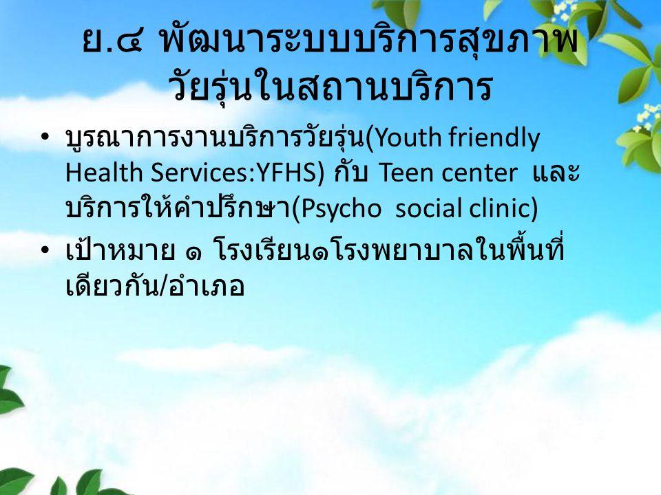 ย. ๔ พัฒนาระบบบริการสุขภาพ วัยรุ่นในสถานบริการ บูรณาการงานบริการวัยรุ่น (Youth friendly Health Services:YFHS) กับ Teen center และ บริการให้คำปรึกษา (P