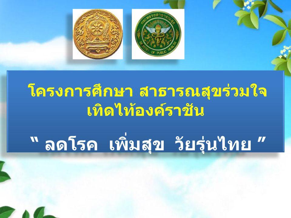 โครงการศึกษา สาธารณสุขร่วมใจ เทิดไท้องค์ราชัน ลดโรค เพิ่มสุข วัยรุ่นไทย โครงการศึกษา สาธารณสุขร่วมใจ เทิดไท้องค์ราชัน ลดโรค เพิ่มสุข วัยรุ่นไทย