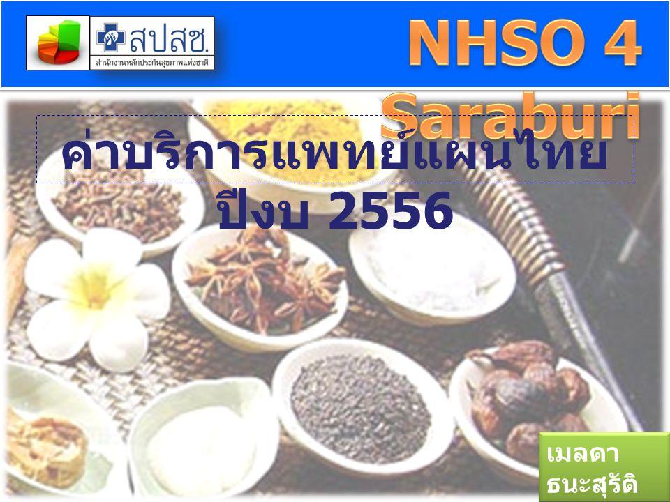 ค่าบริการแพทย์แผนไทย ปีงบ 2556 เมลดา ธนะสุรัติ 23 พย. 55 เมลดา ธนะสุรัติ 23 พย. 55