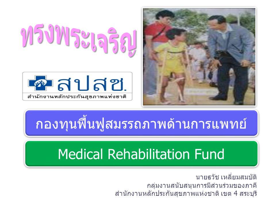 เป้าประสงค์ (Goal) เป้าประสงค์ (Goal) เข้าถึง คุณภาพ คนพิการ ผู้ป่วยระยะฟื้นฟูและผู้สูงอายุ ในระบบหลักประกันสุขภาพถ้วนหน้า สามารถเข้าถึงบริการฟื้นฟูสมรรถภาพทาง การแพทย์ที่มีคุณภาพ ประสิทธิภาพ และด้วยระบบจัดการที่มีประสิทธิภาพ...