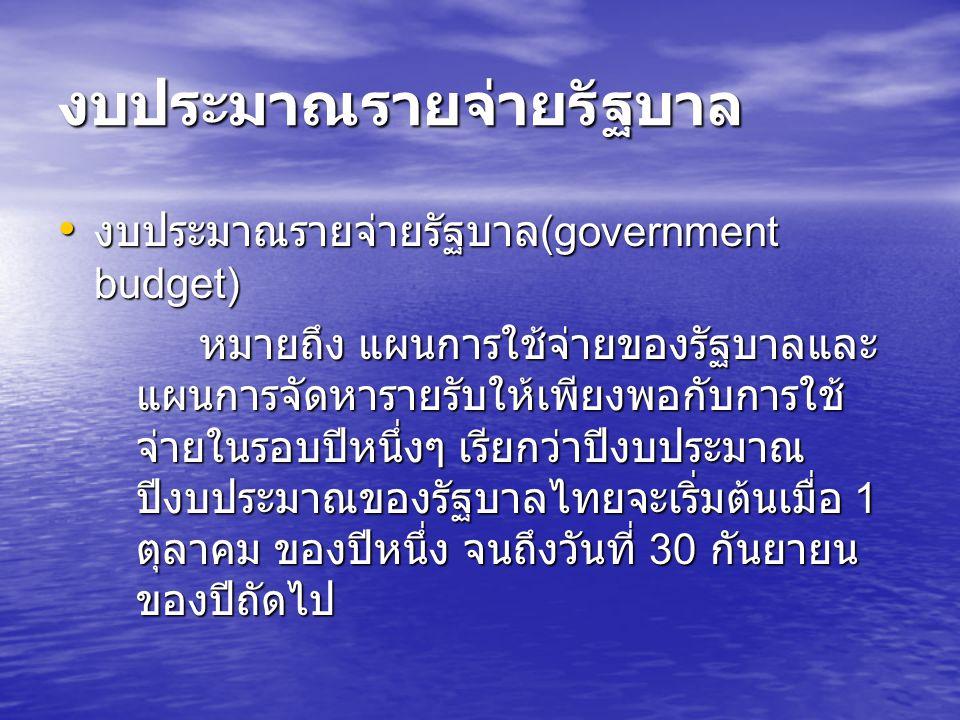 งบประมาณรายจ่ายรัฐบาล งบประมาณรายจ่ายรัฐบาล (government budget) งบประมาณรายจ่ายรัฐบาล (government budget) หมายถึง แผนการใช้จ่ายของรัฐบาลและ แผนการจัดห