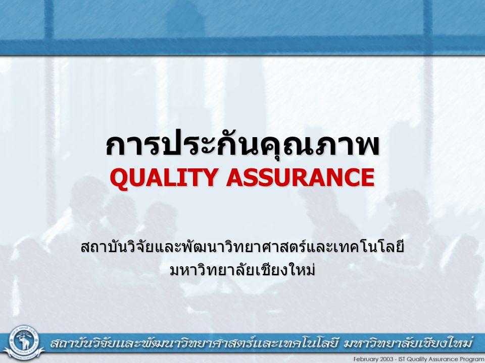 การประกันคุณภาพ QUALITY ASSURANCE สถาบันวิจัยและพัฒนาวิทยาศาสตร์และเทคโนโลยีมหาวิทยาลัยเชียงใหม่