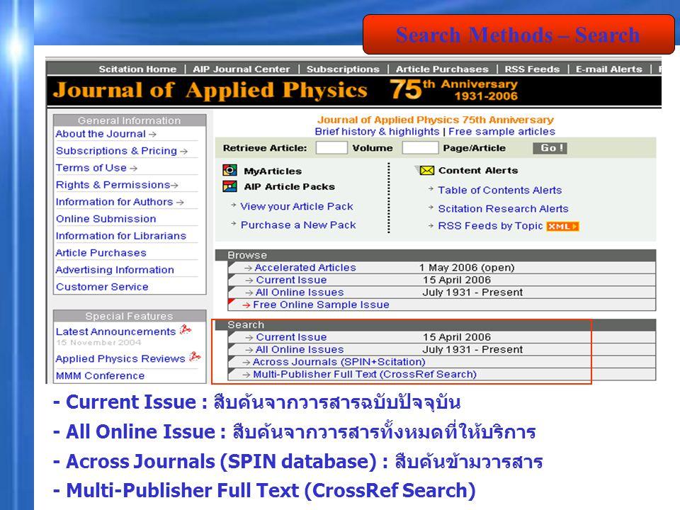 - Current Issue : สืบค้นจากวารสารฉบับปัจจุบัน - All Online Issue : สืบค้นจากวารสารทั้งหมดที่ให้บริการ - Across Journals (SPIN database) : สืบค้นข้ามวา
