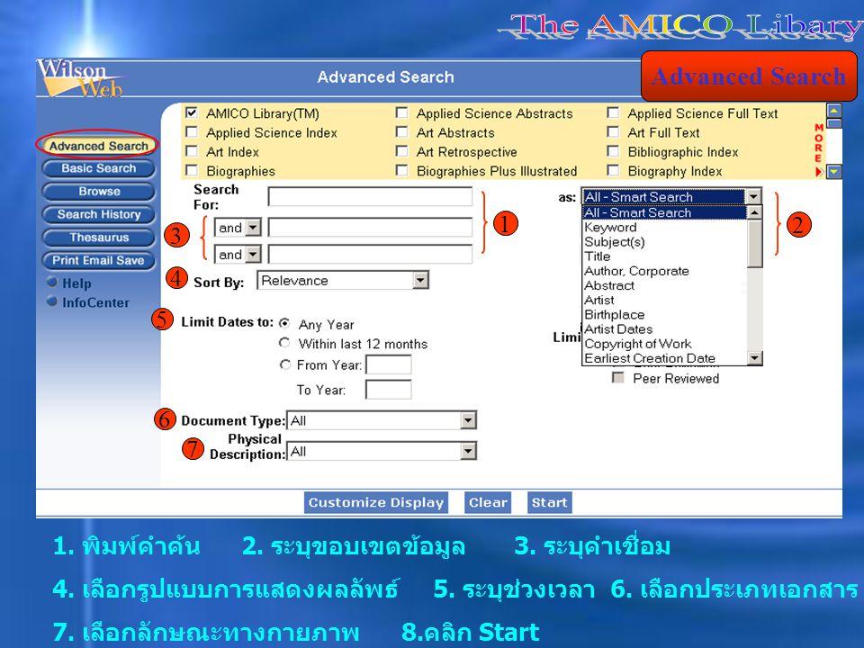 Advanced Search 1. พิมพ์คำค้น 2. ระบุขอบเขตข้อมูล 3.