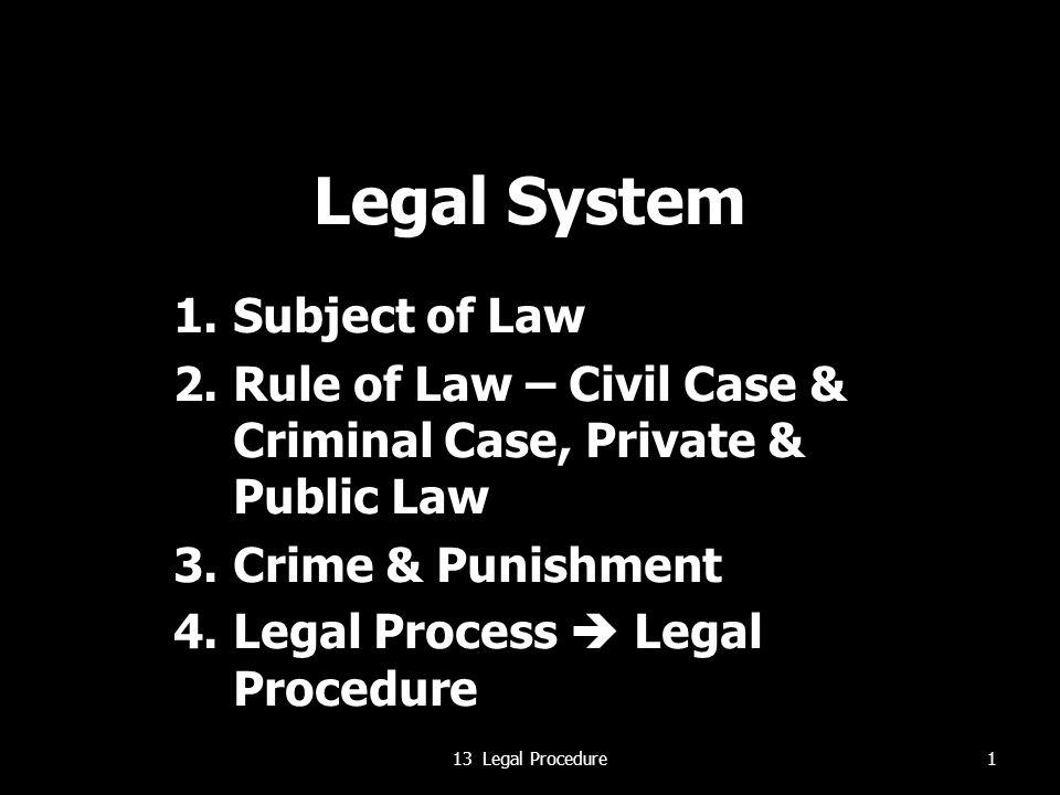 Legal System 1.Subject of Law 2.Rule of Law – Civil Case & Criminal Case, Private & Public Law 3.Crime & Punishment 4.Legal Process  Legal Procedure 113 Legal Procedure