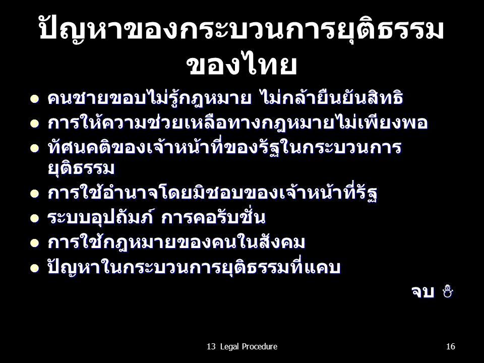 ปัญหาของกระบวนการยุติธรรม ของไทย คนชายขอบไม่รู้กฎหมาย ไม่กล้ายืนยันสิทธิ คนชายขอบไม่รู้กฎหมาย ไม่กล้ายืนยันสิทธิ การให้ความช่วยเหลือทางกฎหมายไม่เพียงพอ การให้ความช่วยเหลือทางกฎหมายไม่เพียงพอ ทัศนคติของเจ้าหน้าที่ของรัฐในกระบวนการ ยุติธรรม ทัศนคติของเจ้าหน้าที่ของรัฐในกระบวนการ ยุติธรรม การใช้อำนาจโดยมิชอบของเจ้าหน้าที่รัฐ การใช้อำนาจโดยมิชอบของเจ้าหน้าที่รัฐ ระบบอุปถัมภ์ การคอรับชั่น ระบบอุปถัมภ์ การคอรับชั่น การใช้กฎหมายของคนในสังคม การใช้กฎหมายของคนในสังคม ปัญหาในกระบวนการยุติธรรมที่แคบ ปัญหาในกระบวนการยุติธรรมที่แคบ จบ ☃ 1613 Legal Procedure