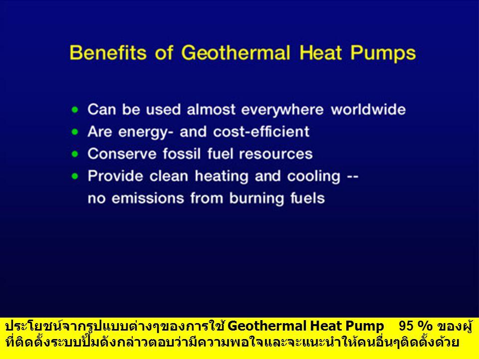 ประโยชน์จากรูปแบบต่างๆของการใช้ Geothermal Heat Pump 95 % ของผู้ ที่ติดตั้งระบบปั๊มดังกล่าวตอบว่ามีความพอใจและจะแนะนำให้คนอื่นๆติดตั้งด้วย