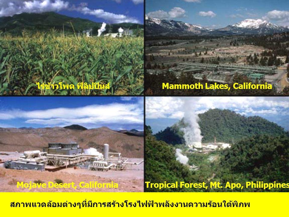 สภาพแวดล้อมต่างๆที่มีการสร้างโรงไฟฟ้าพลังงานความร้อนใต้พิภพ ไร่ข้าวโพด ฟิลิปปินส์Mammoth Lakes, California Mojave Desert, California Tropical Forest, Mt.