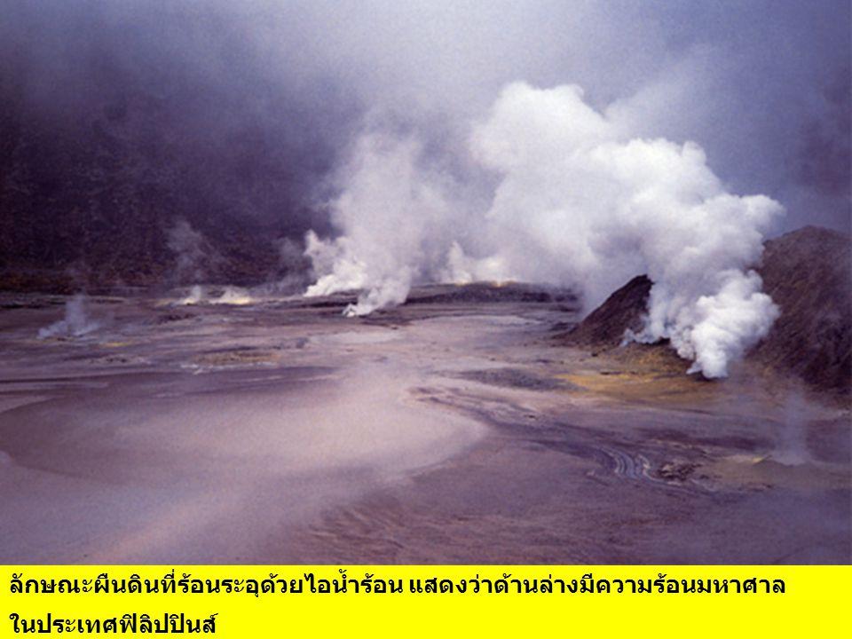 เมื่อน้ำร้อนและไอน้ำร้อนดันขึ้นมาที่ผิวดิน อาจอยู่ในรูปของน้ำพุร้อน (Hot Springs) โคลนเดือด (Mud Pots) ไอน้ำร้อน (Fumaroles) และอื่นๆ