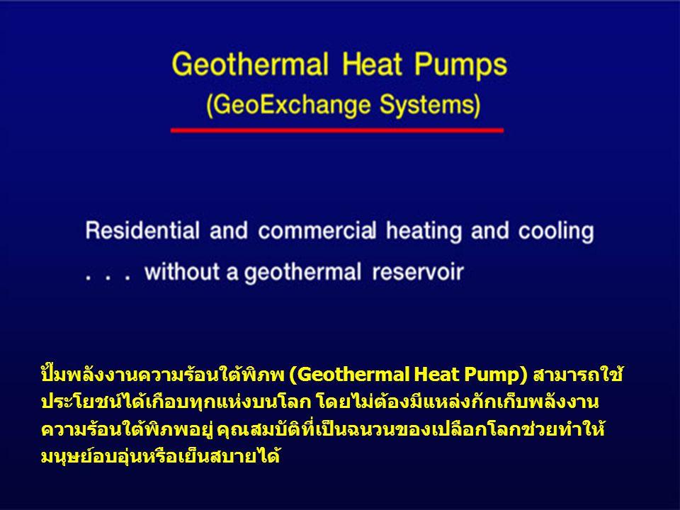 ปั๊มพลังงานความร้อนใต้พิภพ (Geothermal Heat Pump) สามารถใช้ ประโยชน์ได้เกือบทุกแห่งบนโลก โดยไม่ต้องมีแหล่งกักเก็บพลังงาน ความร้อนใต้พิภพอยู่ คุณสมบัติที่เป็นฉนวนของเปลือกโลกช่วยทำให้ มนุษย์อบอุ่นหรือเย็นสบายได้