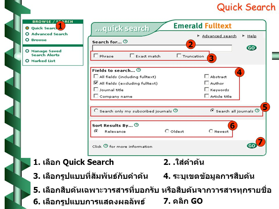 Quick Search Quick Search 1.เลือก Quick Search2..ใส่คำค้น 3.