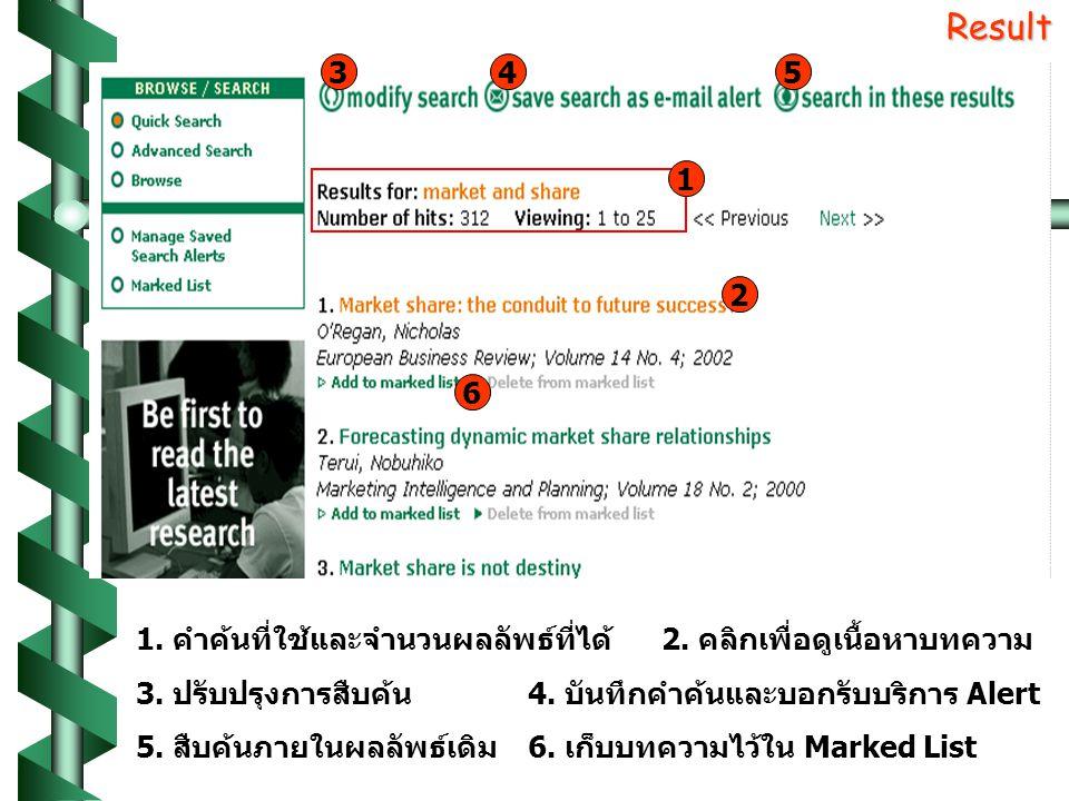 Result 1. คำค้นที่ใช้และจำนวนผลลัพธ์ที่ได้2. คลิกเพื่อดูเนื้อหาบทความ 3.