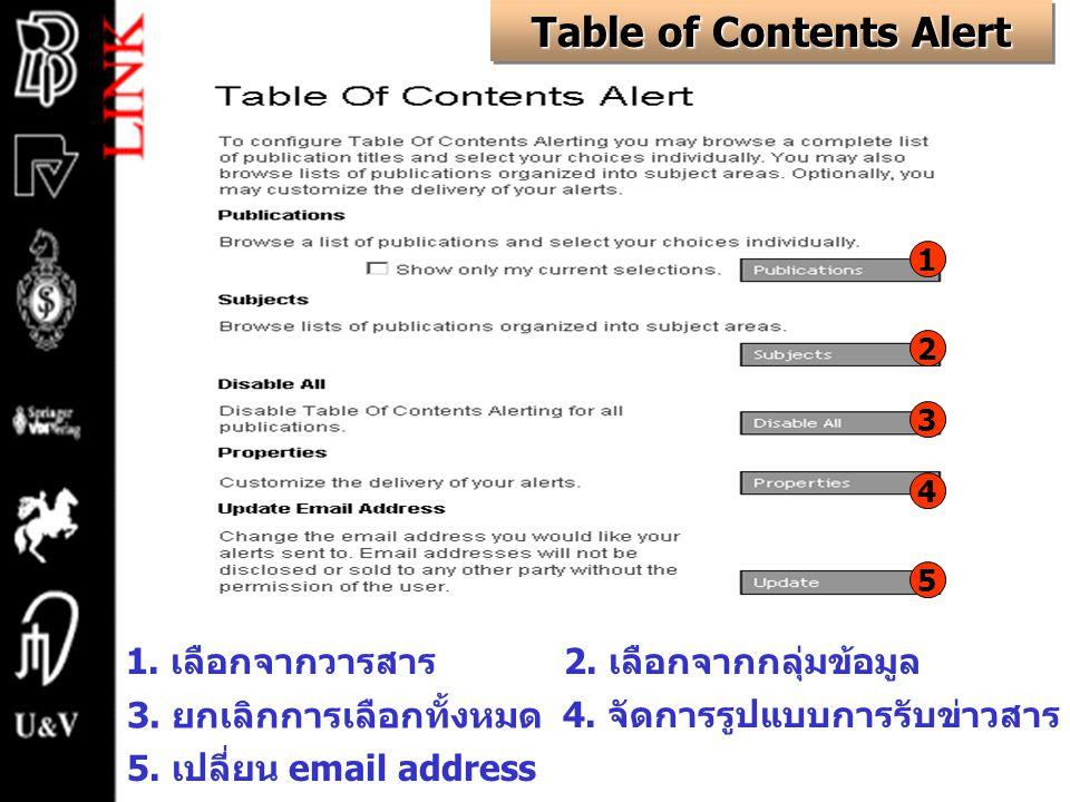 Table of Contents Alert 1. เลือกจากวารสาร2. เลือกจากกลุ่มข้อมูล 3.
