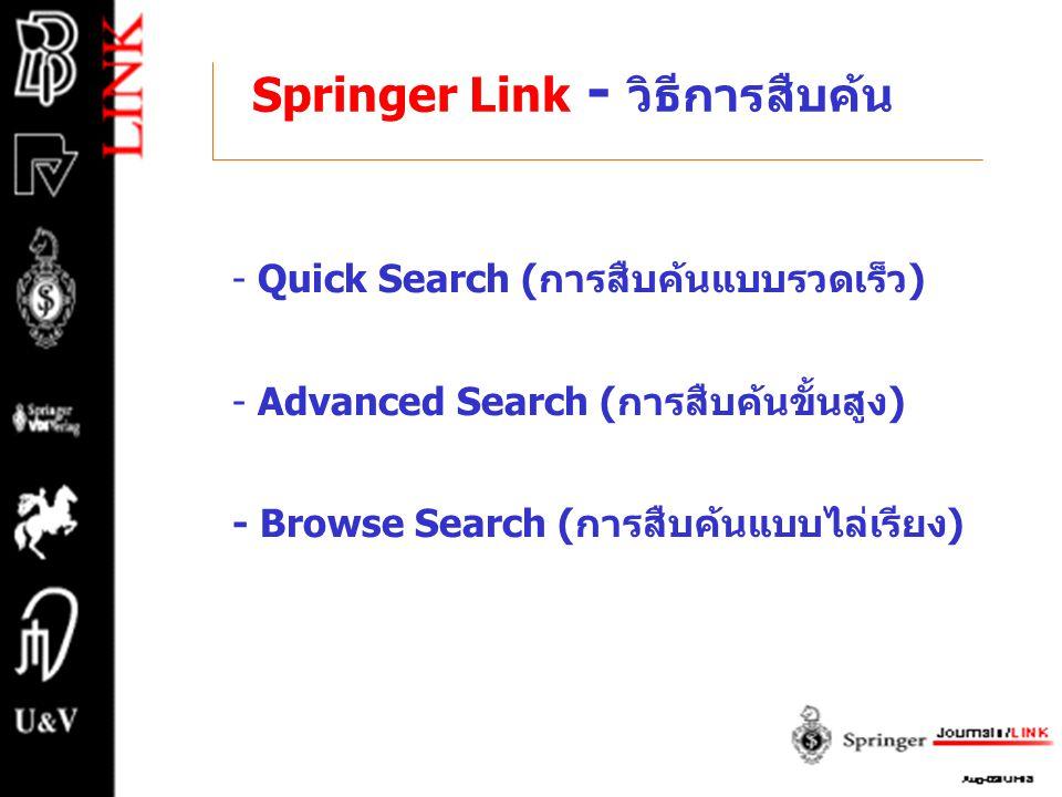 Springer Link - วิธีการสืบค้น - Quick Search (การสืบค้นแบบรวดเร็ว) - Advanced Search (การสืบค้นขั้นสูง) - Browse Search (การสืบค้นแบบไล่เรียง)