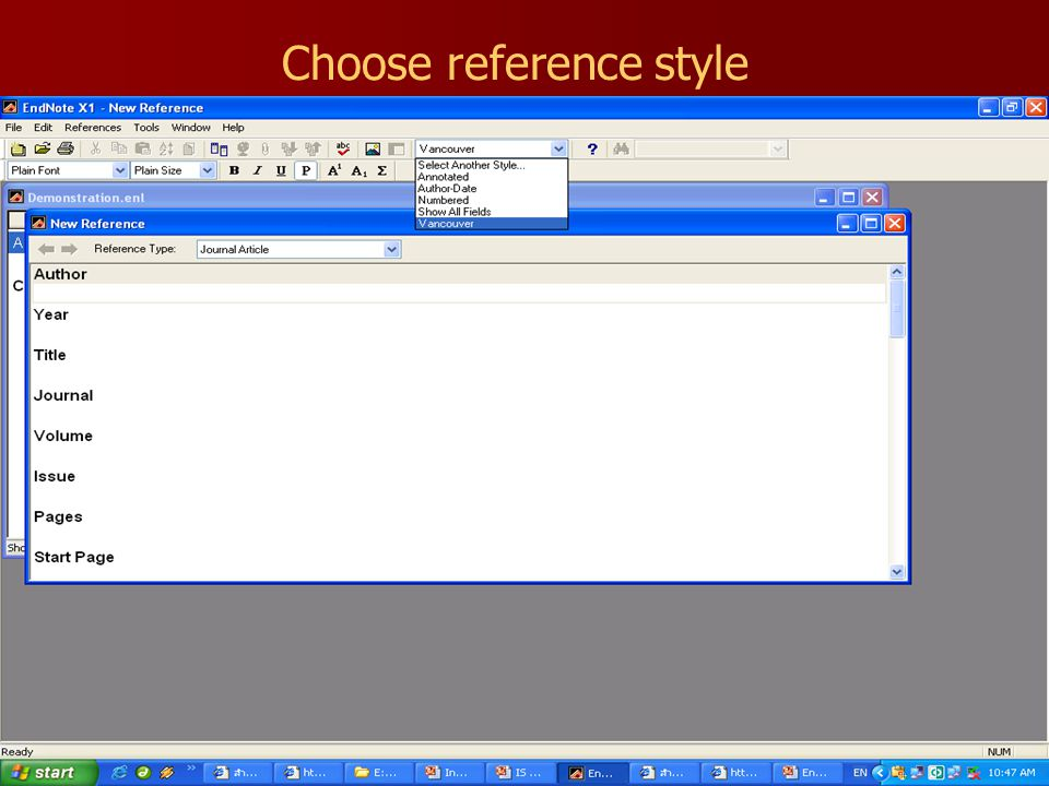 Choose reference style