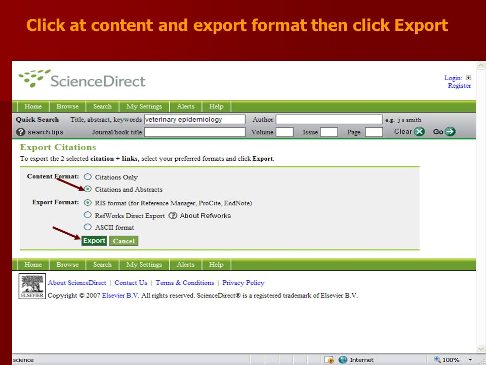 Click at content and export format then click Export