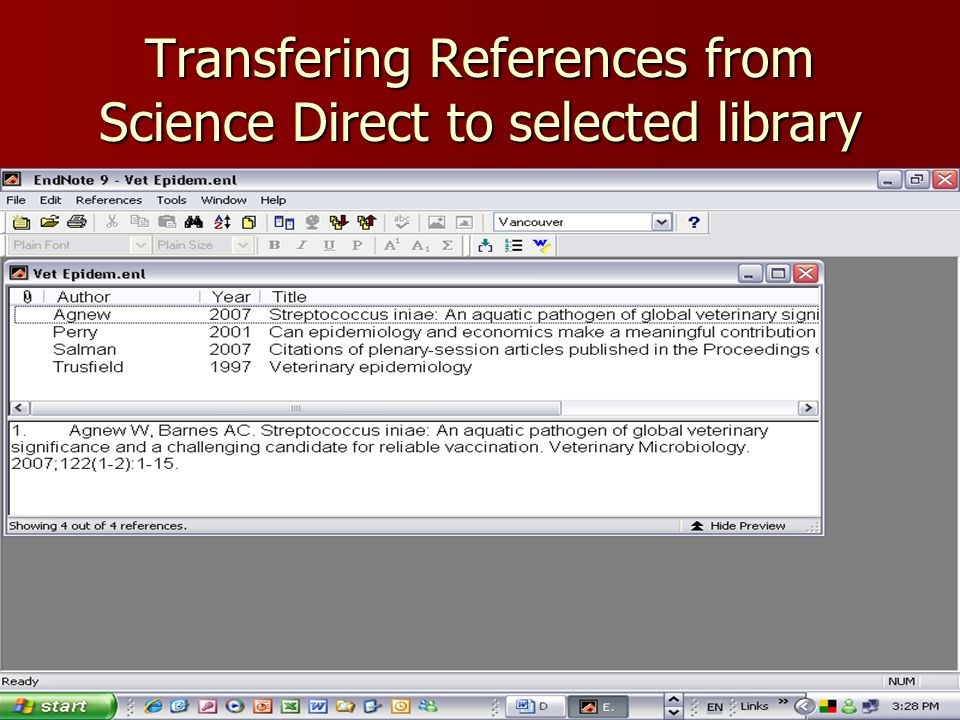 Transfering References from Science Direct to selected library