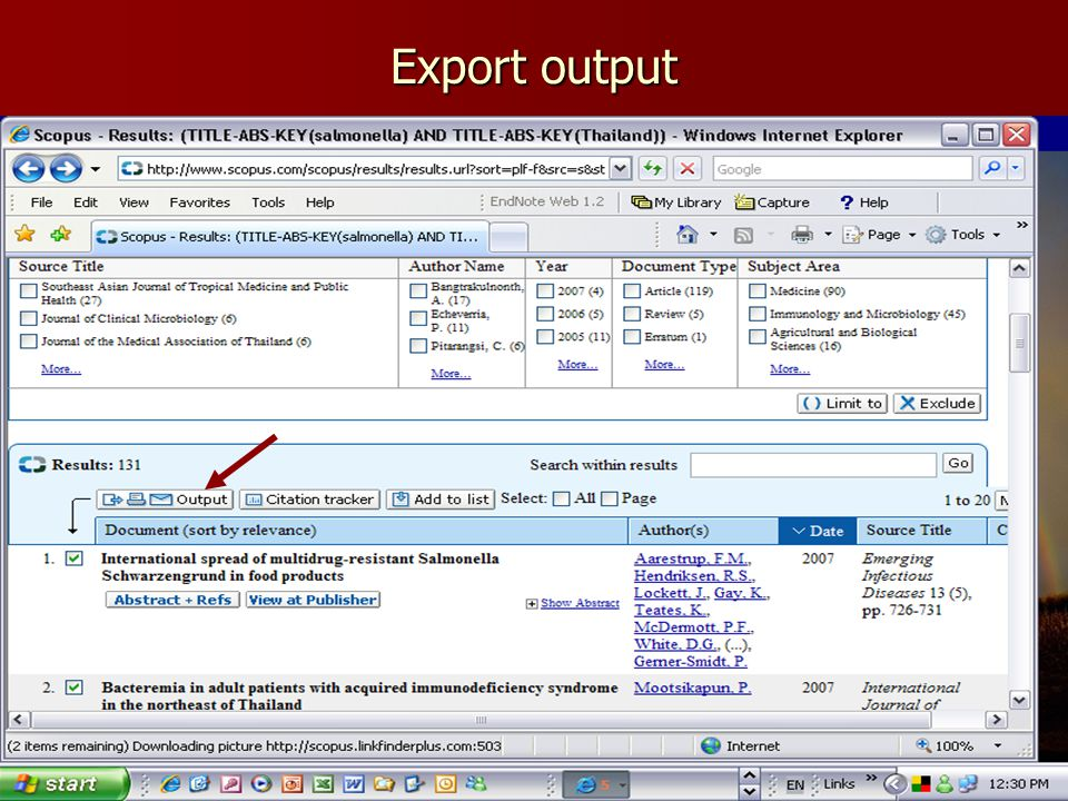 Export output