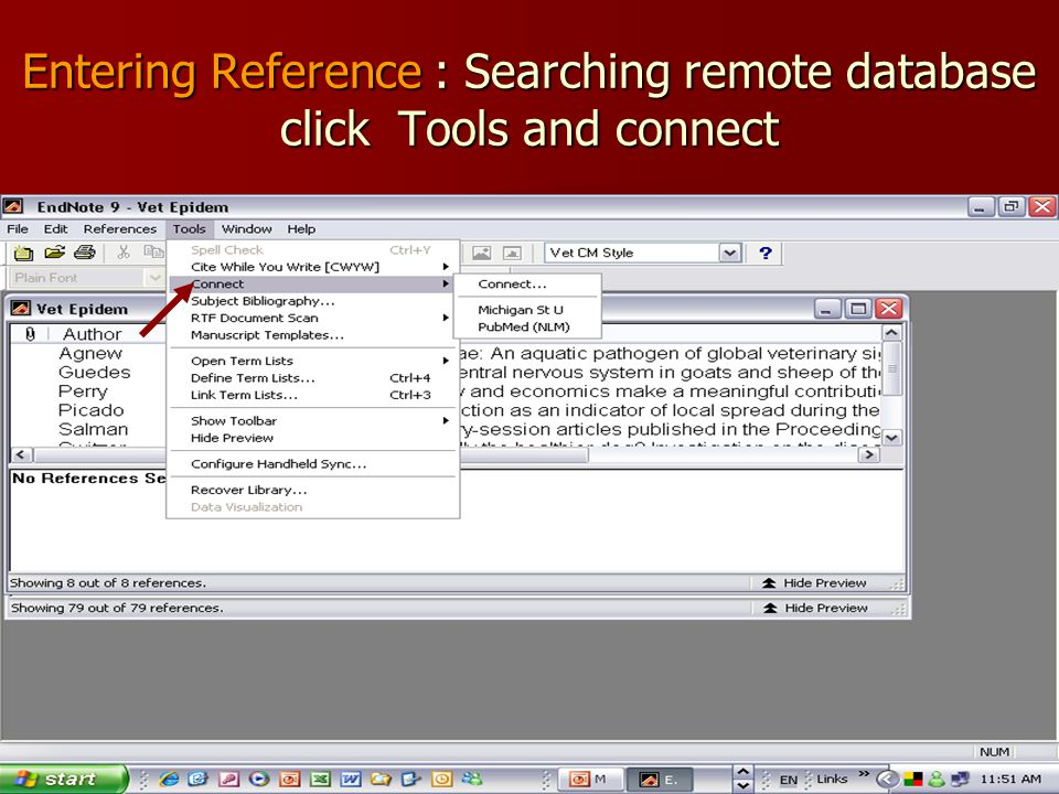 Entering Reference : Searching remote database click Tools and connect