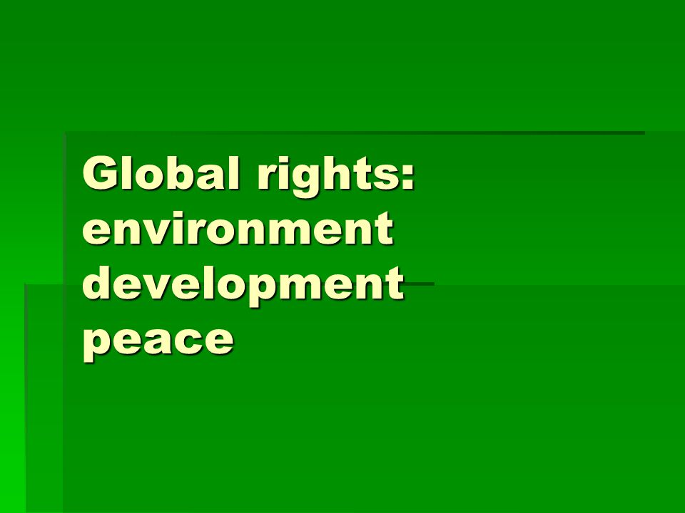 Global rights: environment development peace