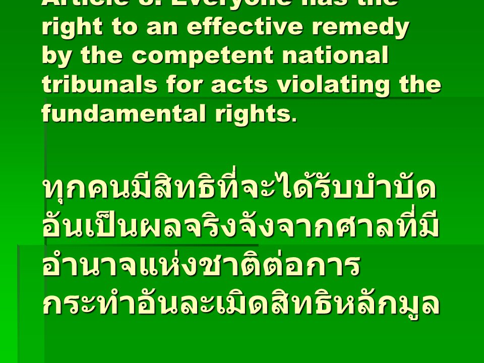 Article 8. Everyone has the right to an effective remedy by the competent national tribunals for acts violating the fundamental rights. ทุกคนมีสิทธิที