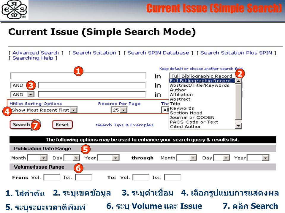 Current Issue (Simple Search) 1. ใส่คำค้น 5. ระบุระยะเวลาตีพิมพ์ 2. ระบุเขตข้อมูล4. เลือกรูปแบบการแสดงผล 6. ระบุ Volume และ Issue7. คลิก Search 3. ระบ