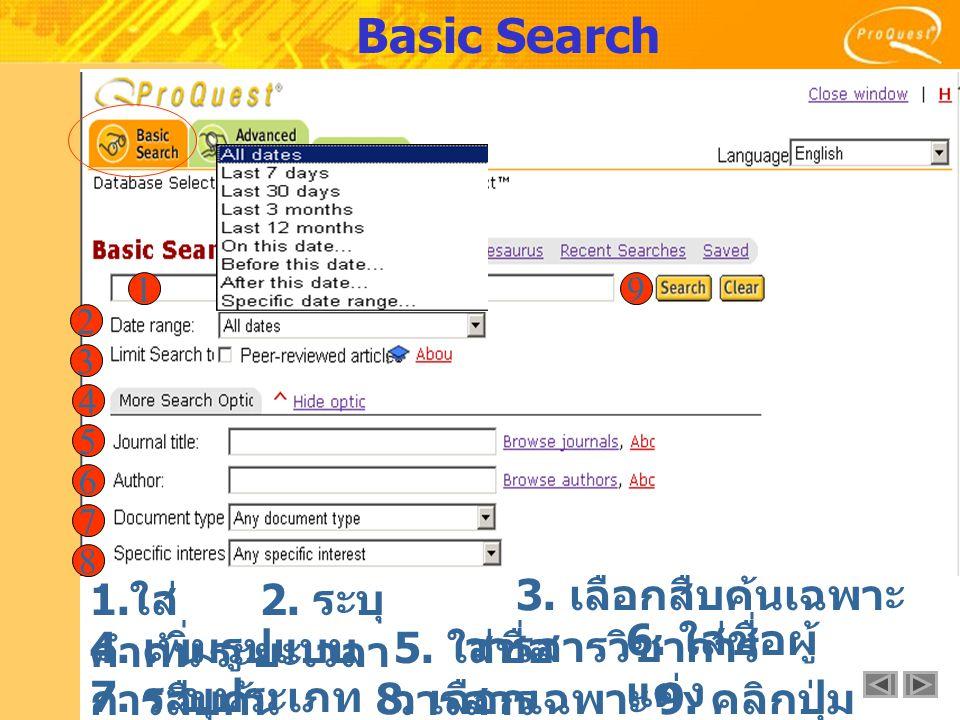 Basic Search 1. ใส่ คำค้น 1 2 2. ระบุ ระยะเวลา 4.