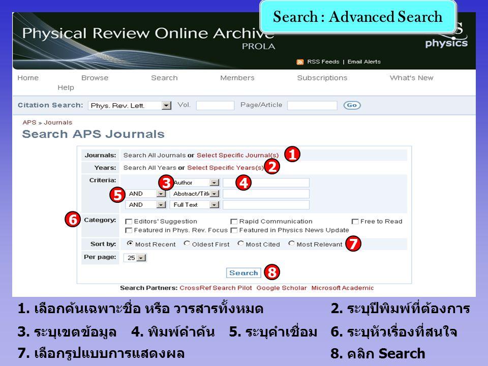 4. พิมพ์คำค้น3. ระบุเขตข้อมูล5. ระบุคำเชื่อม 2. ระบุปีพิมพ์ที่ต้องการ 6. ระบุหัวเรื่องที่สนใจ 7. เลือกรูปแบบการแสดงผล 8. คลิก Search 1. เลือกค้นเฉพาะช
