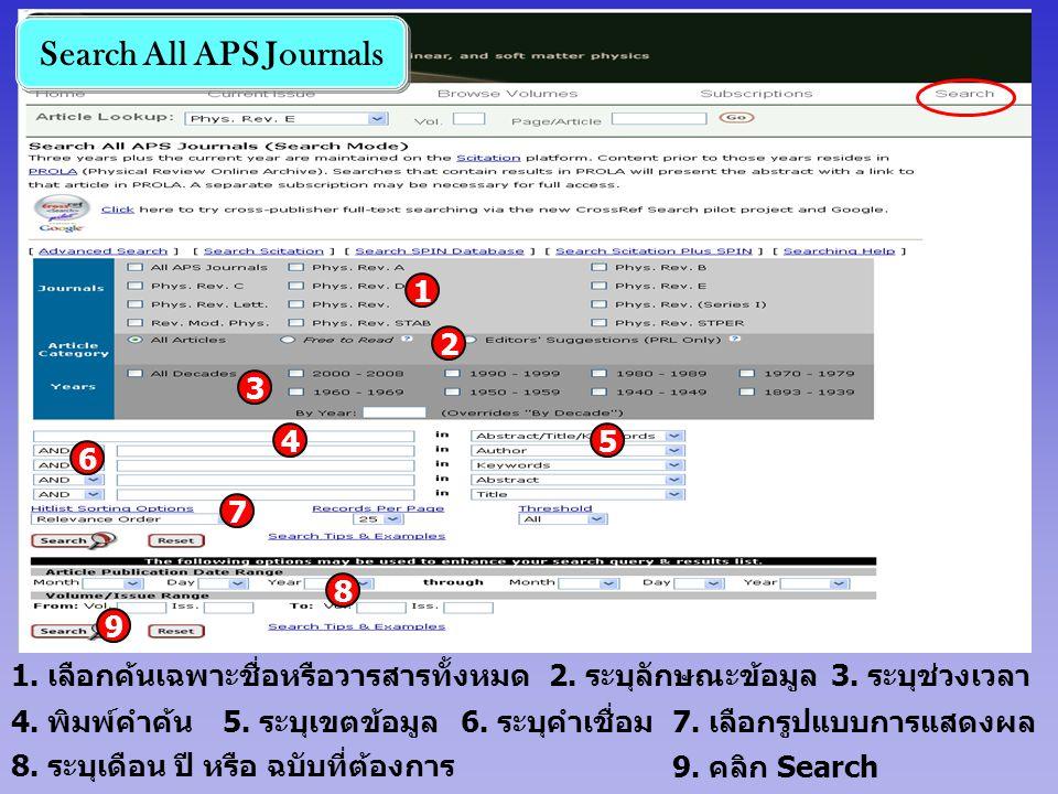 Search All APS Journals 4. พิมพ์คำค้น 1 2 3. ระบุช่วงเวลา 5. ระบุเขตข้อมูล 2. ระบุลักษณะข้อมูล 6. ระบุคำเชื่อม7. เลือกรูปแบบการแสดงผล 9. คลิก Search 1