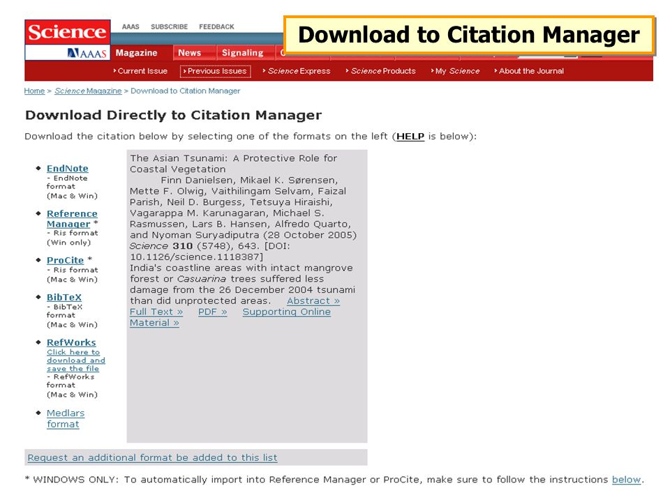 Download to Citation Manager