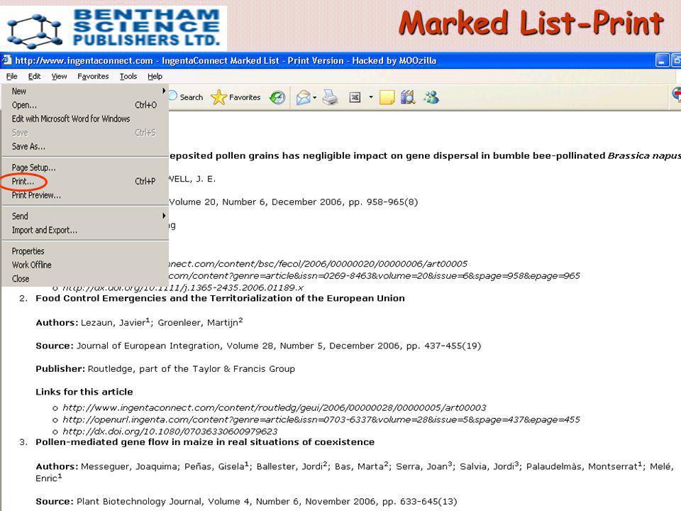 Marked List-Print