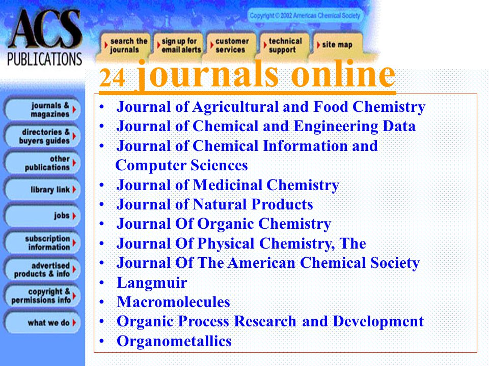 Accounts of Chemical Research Analytical Chemistry Biochemistry Bioconjugate Chemistry Biotechnology Progress Chemical Research in Toxicology Chemical Reviews Chemistry of Materials Energy and Fuels Environmental Science and Technology Industrial and Engineering Chemistry Research Inorganic Chemistry 24 journals online