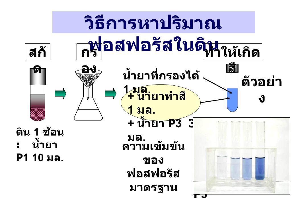 ความเข้มข้น ของ ฟอสฟอรัส มาตรฐาน วิธีการหาปริมาณ ฟอสฟอรัสในดิน ดิน 1 ช้อน : น้ำยา P1 10 มล. กร อง สกั ด ทำให้เกิด สี ตัวอย่า ง + น้ำยาทำสี 1 มล. + น้ำ