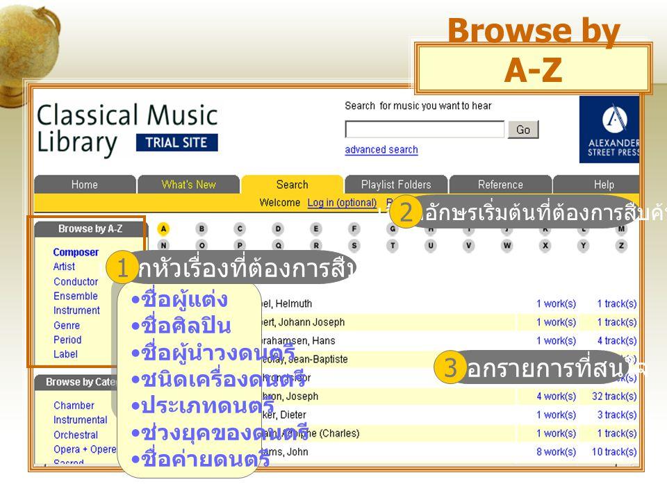 ไล่เรียงตามประเภทดนตรี Browse by Category
