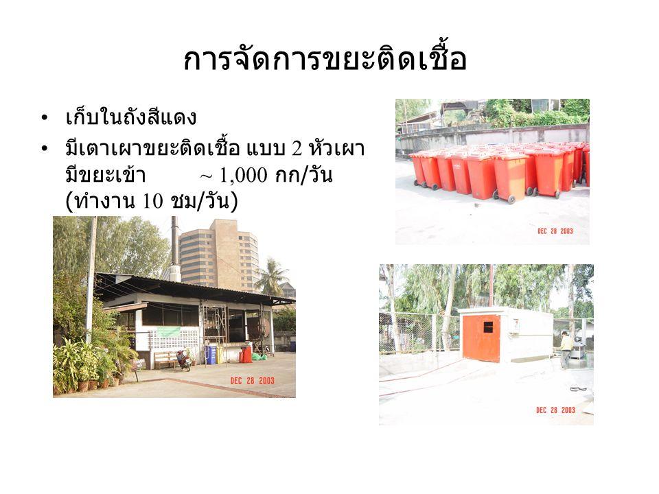 การจัดการขยะ ทั่วไป จากโรงพยาบาล เก็บในถังสีน้ำเงิน มีถังพักแบบ Container 2 ถัง ปริมาณ ~ 6.5 ตัน / วัน จ้างเทศบาลเก็บ ขน รวมจากหน้าอาคารต่างๆ 80,000 บาท / เดือน