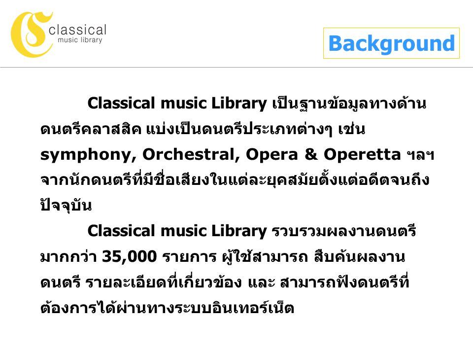 Classical music Library เป็นฐานข้อมูลทางด้าน ดนตรีคลาสสิค แบ่งเป็นดนตรีประเภทต่างๆ เช่น symphony, Orchestral, Opera & Operetta ฯลฯ จากนักดนตรีที่มีชื่อเสียงในแต่ละยุคสมัยตั้งแต่อดีตจนถึง ปัจจุบัน Classical music Library รวบรวมผลงานดนตรี มากกว่า 35,000 รายการ ผู้ใช้สามารถ สืบค้นผลงาน ดนตรี รายละเอียดที่เกี่ยวข้อง และ สามารถฟังดนตรีที่ ต้องการได้ผ่านทางระบบอินเทอร์เน็ต Background