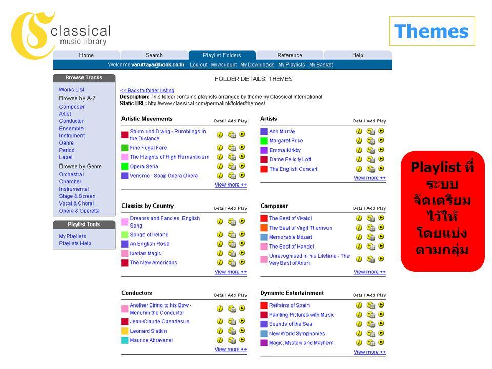 Themes Playlist ที่ ระบบ จัดเตรียม ไว้ให้ โดยแบ่ง ตามกลุ่ม