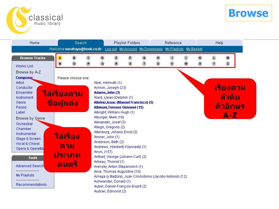 ไล่เรียงตาม ชื่อผู้แต่ง เรียงตาม ลำดับ ตัวอักษร A-Z ไล่เรียง ตาม ประเภท ดนตรี Browse